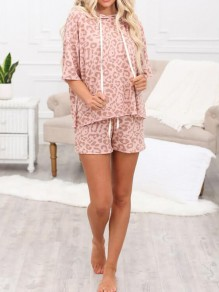 Pink Leopard Pattern Drawstring Two Piece Half Sleeve Pajama Loungewear Lounge Set