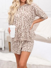 Khaki Leopard Pattern Drawstring Two Piece Half Sleeve Pajama Loungewear Lounge Set