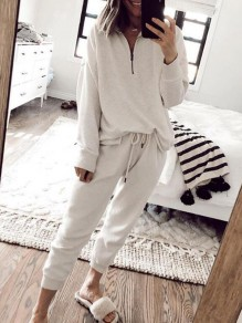 White Drawstring Zipper Tracksuit Two Piece Pajama Loungewear Lounge Set