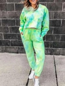 Green Tie Dye Print V-neck Long Sleeve Long Sweat Pants Lounge Set Pajama