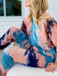 Blue Tie Dye Print Pockets Round Neck Long Sleeve Long Lounge Set Pajama
