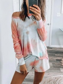Blue Tie Dye Print Round Neck Off Shoulder Long Sleeve Short Lounge Set Pajama