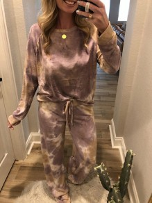 Purple Tie Dye Print Round Neck Long Sleeve Drawstring Waist Long Lounge Set Pajama
