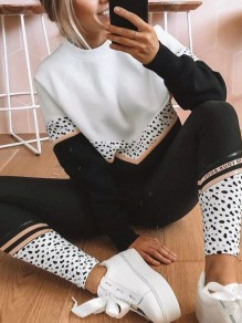 Black White Leopard Patchwork Comfy Fashion Long Loungewear Lounge Sets