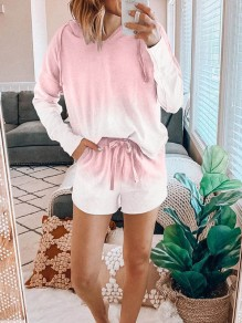 Pink Gradient Color Print Pockets Hooded Long Sleeve Drawstring Waist Short Lounge Set