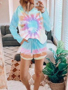 Blue Tie Dye Spiral Print Pockets Hooded Long Sleeve Drawstring Waist Short Lounge Set