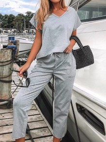 Grey Drawstring Pockets High Waisted Fashion Long Lounge Sets