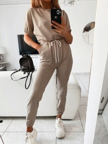 Khaki Drawstring Pockets High Waisted Fashion Long Lounge Sets