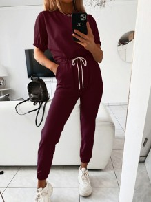 Burgundy Drawstring Pockets High Waisted Fashion Long Lounge Sets