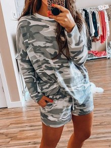 Grey Camouflage Drawstring Pockets High Waisted Fashion Short Lounge Sets