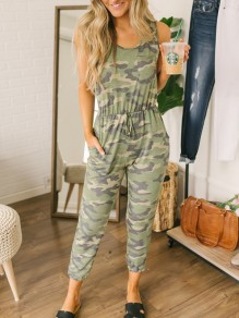 Army Green Camouflage Drawstring One Piece Round Neck Sleeveless Long Jumpsuit