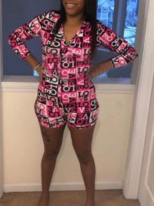 Pink Letter Pattern Single Breasted One Piece Pajama Loungewear Lounge Jumpsuit