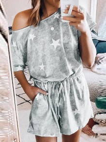 Grey Star Pockets Drawstring One Shoulder Casual Short Loungewear Lounge Jumpsuit