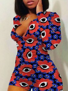Purple Big Floral Eyes Print Buttons Bodycon V-neck Long Sleeve High Waisted Short Loungewear Lounge Jumpsuits