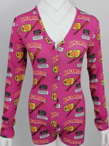 "Pink ""BACKWOODS"" Pattern V-neck Long Sleeve Short Romper Pajama Lounge Jumpsuit"