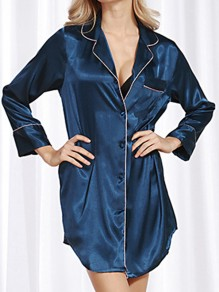 Blue Patchwork Buttons Turndown Collar Sleepwear Fashion Lounge Dress