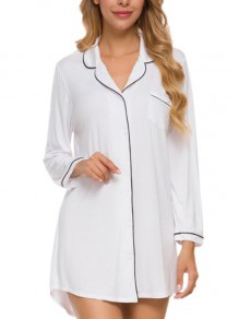 White Patchwork Buttons One Piece Elegant Loungewear Lounge Dress