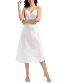 White Patchwork Shoulder-Strap One Piece Fashion Loungewear Lounge Dress