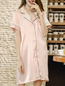 Pink Patchwork Buttons One Piece Honey Girl Loungewear Lounge Dress