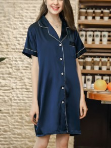 Navy Blue Patchwork Buttons One Piece Honey Girl Loungewear Lounge Dress