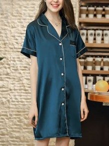 Blue Patchwork Buttons One Piece Honey Girl Loungewear Lounge Dress