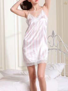 Pink Striped Lace Suspender Skirt Fashion Loungewear Lounge Dress