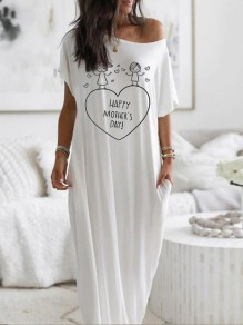 White Heart Letter Pockets One Shoulder Short Sleeve Loungewear Lounge Dress