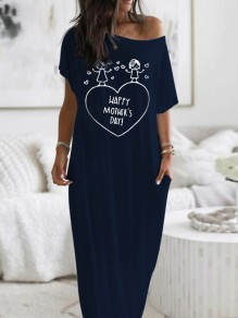 Navy Blue Heart Print Pockets One Shoulder Short Sleeve Loungewear Lounge Dress