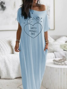 Blue Heart Letter Pockets One Shoulder Short Sleeve Loungewear Lounge Dress
