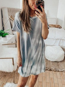 Light Grey Tie Dye Gradient Casual Fashion Loungewear Lounge Dress