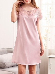 Pink Patchwork Lace V-neck Short Sleeve Fashion Mini Dress