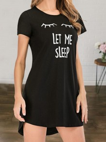 Black LET ME SLEEP Letter Print Round Neck Short Sleeve Cute Pajamas Nightgown Mini Lounge Dress