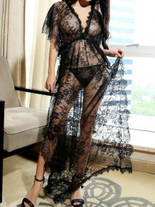 Black Floral Lace Deep V-neck Side Slit Pajama Lingerie Sleepwear Nightwear Maxi Dress