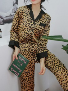 Brown Leopard Pattern Fashion Two Piece Sleepwear Pajama Set
