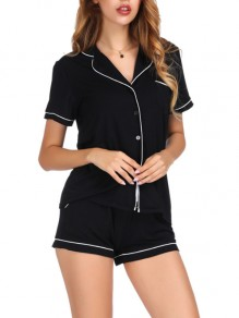 Black Patchwork Buttons Two Piece Honey Girl Sleepwear Pajama Set