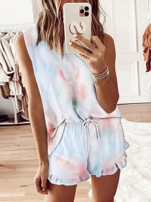 White Color Block Tie Dye Comfy Round Neck Fashion Sleepwear Pajama Set