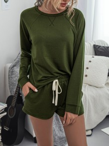 Army Green Print Drawstring Pockets Two Piece High Waisted Short Sleepwear Pajama Sets