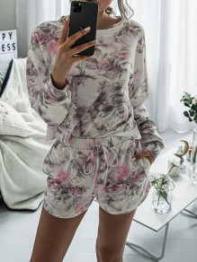 Grey-Pink Tie Dyeing Drawstring Pockets Two Piece High Waisted Short Sleepwear Pajama Sets