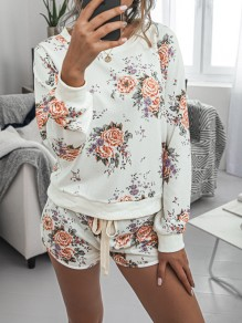 White Floral Print Drawstring Pockets Two Piece High Waisted Short Sleepwear Pajama Sets