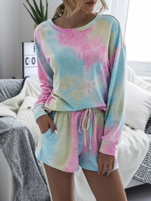Pink-Blue Tie Dyeing Drawstring Pockets Two Piece High Waisted Short Sleepwear Pajama Sets