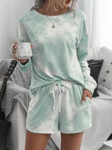 Green-White Tie Dyeing Drawstring Pockets Two Piece High Waisted Short Sleepwear Pajama Sets