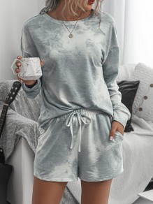Grey-White Tie Dyeing Drawstring Pockets Two Piece High Waisted Short Sleepwear Pajama Sets