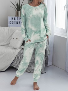 Green-White Tie Dyeing Drawstring Pockets Two Piece High Waisted Long Sleepwear Pajama Sets