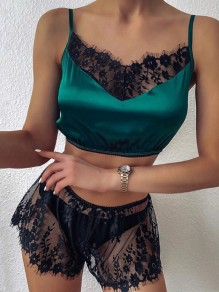 Green Patchwork Lace Cut Out Square Neck Sleeveless Pajama Set