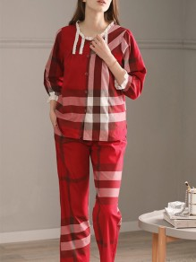 Red Plaid Pattern Mom Puls Size Fashion Casual Onesie Sleepwear Pajama Set