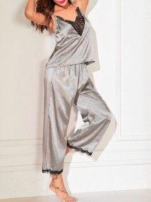 Grey Patchwork Shoulder-Strap Lace Cut Out V-neck Sleeveless Two Piece Cute Silk Pajama Sets