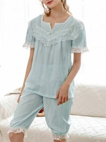 Blue Patchwork Lace Mid-rise Cute Sleepwear Five's Pajama Set