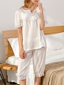 White Patchwork Lace Mid-rise Cute Sleepwear Five's Pajama Set