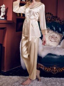 Beige Patchwork Lace Sashes Single Breasted Mid-rise Sleepwear Long Pajama Set