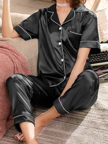 Black Single Breasted Pockets Mid-rise Sleepwear Long Pajama Set